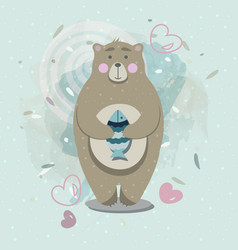 bear with fish in scandinavian style vector image vector image