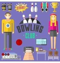 Bowling symbols set vector image