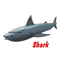 Dangerous cartoon shark character vector image vector image