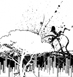 grunge city and nature vector image vector image