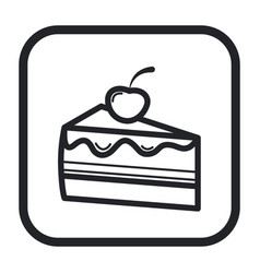 line icon piece of cake black and white vector image