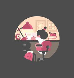 little girl schoolgirl doing homework vector image