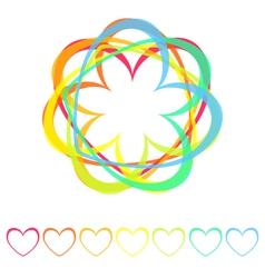 rainbow hearts icon vector image vector image