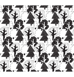Black and white winter forest seamless pattern vector image vector image
