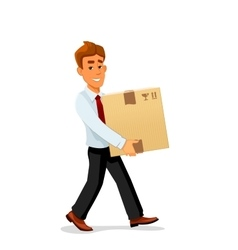 Delivery man is carrying a cardboard package vector image