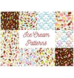 Ice cream seamless patterns vector image