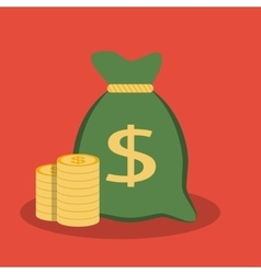 Money bag and coins icon vector image vector image