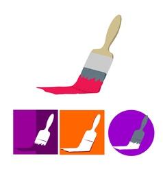 Paint brush flat icon set vector image