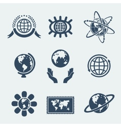 Set of symbols planet earth vector image vector image