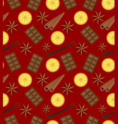Spices seamless pattern mulled wine and chocolate vector