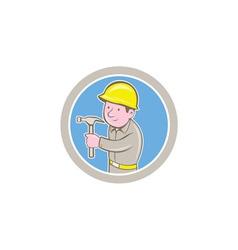 Carpenter Builder Hammer Circle Cartoon vector image