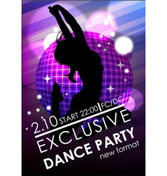 Dance party poster or flyer template vector image vector image