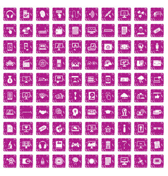 100 website icons set grunge pink vector image vector image
