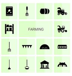 14 farming icons vector