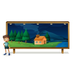 a boy and a board vector image