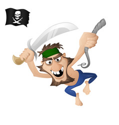 a pirate on a rope vector image