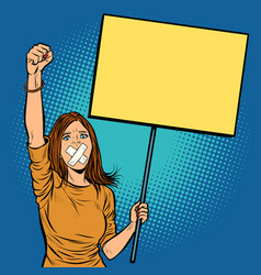 a woman with a gag in her mouth protests vector image