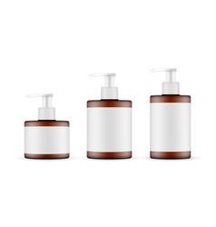 amber pump bottles mockups with labels vector image