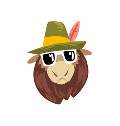 animal wearing hat animal portrait cartoon vector image