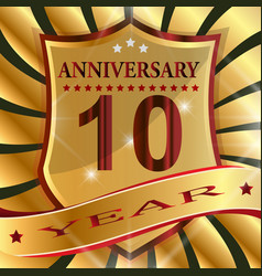 anniversary 10 th label with ribbon vector image