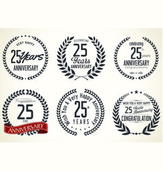 Anniversary laurel wreath collection 25 years 3 vector