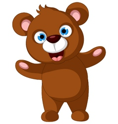 baby brown bear cartoon posing vector image
