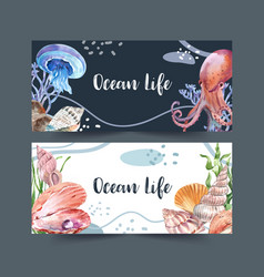 Banner design with classic sealife theme creative vector