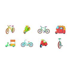 Bike icon set cartoon style vector