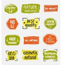 Bio and natural cosmetic product labels set vector image