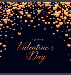 black background with falling hearts valentines vector image