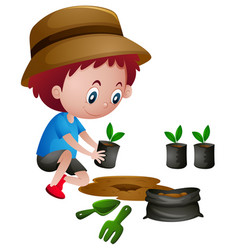 Boy planting trees in the ground vector