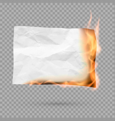burning piece of paper with copy space crumpled vector image