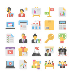 Business flat colored icons 5 vector