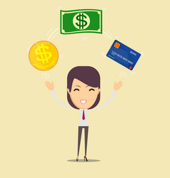 business woman displaying a money and cash card vector image