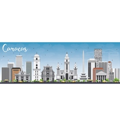 Caracas Skyline with Gray Buildings and Blue Sky vector