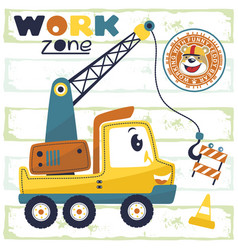 Cartoon funny crane truck with smiling bear vector