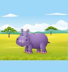cartoon funny hippo in the african landscape vector image