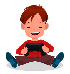 Cheerful little boy playing videogames cute vector