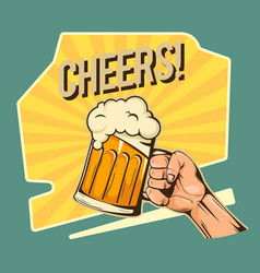 cheers hand hold a glass of beer image vector image
