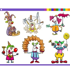 Circus clown characters set vector