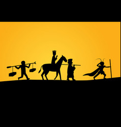 closeup journey to the west in silhouette vector image