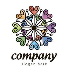 Colorful heart logo vector