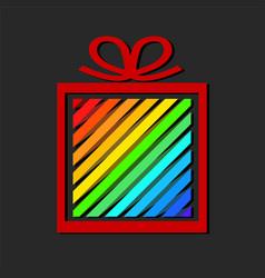 Colorful ribbon gift box holiday logo concept vector