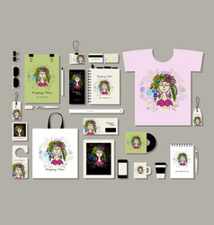 corporate flat mock-up template floral girl vector image