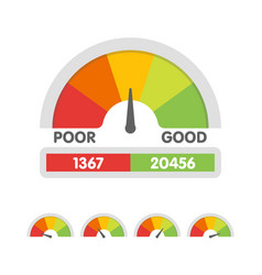 credit score gauge speedometer icon in flat style vector image