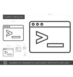 Custom coding line icon vector