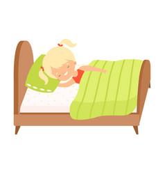 cute blonde little girl sleeping sweetly in her vector image