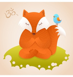 Cute fox sitting in yoga lotus pose and relaxing vector