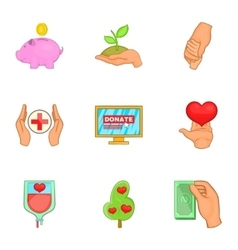 Donation icons set cartoon style vector