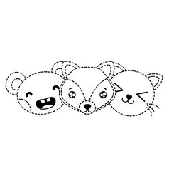 Dotted shape happy cute animals head friends vector